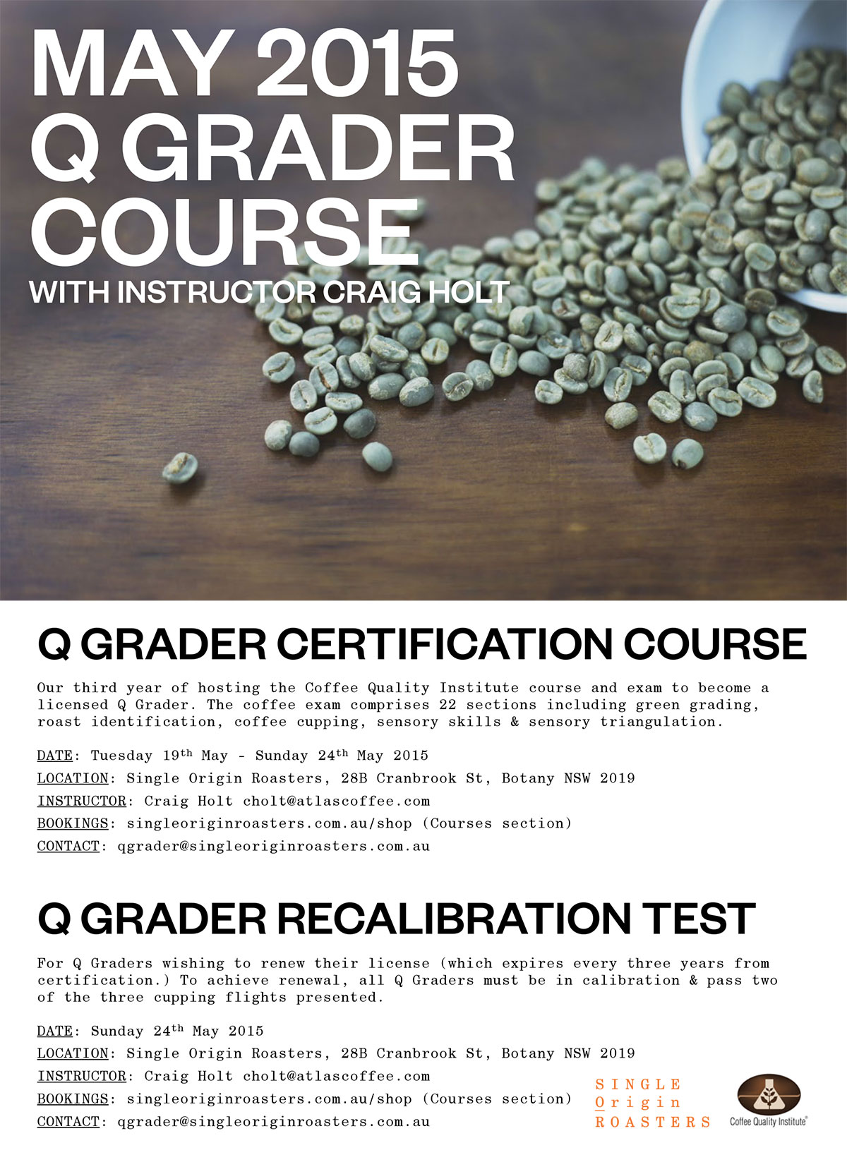 CQI Q Grader course at Single Origin Roasters