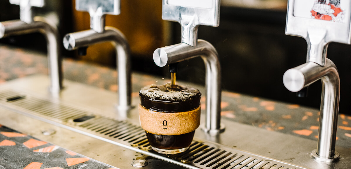 Single O on tap, filter coffee pouring at Surry Hills Cafe