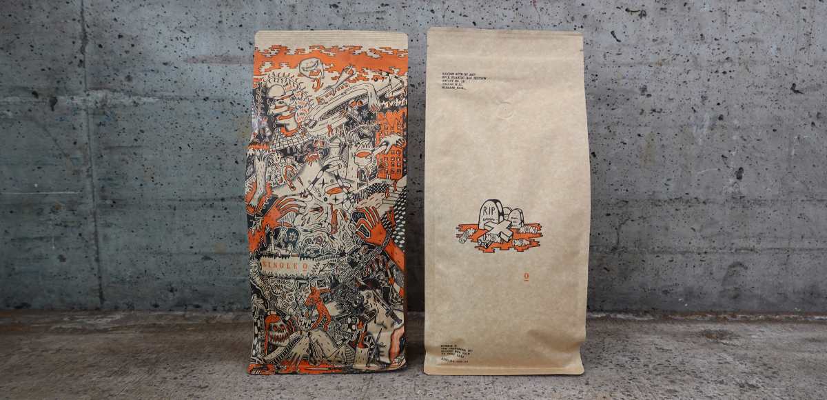 Random Acts of Art coffee bag by illustrator Isaiah Hill
